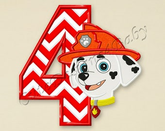 Paw Patrol Marshall Number 4 applique embroidery design, Paw Patrol Machine Embroidery Designs, designs baby, Instant download #056