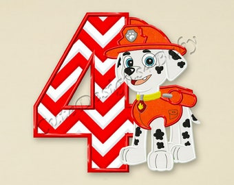 Paw Patrol Marshall Fourth birthday applique embroidery design, Paw Patrol Machine Embroidery Designs, designs baby, Instant download #075