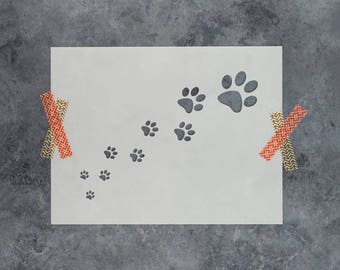 Trail of Paw Prints Stencil - Reusable DIY Craft Stencils of Paw Prints