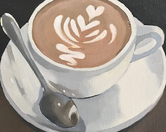 cafe latte #2, 6x6 original oil on canvas , coffee art, cafe latte painting, kitchen art, small art, still life art