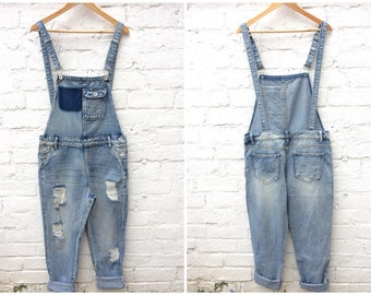 Dungarees, vintage denim overalls, 80's style, distressed fashion