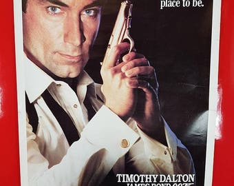 SALE 1980s James Bond Movie Poster / Vintage Licence To Kill Timothy Dalton Action Movie Advert Pop Culture Collectible Movie Poster