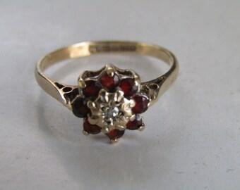 Garnet Gold Ring Sz 7 3/4