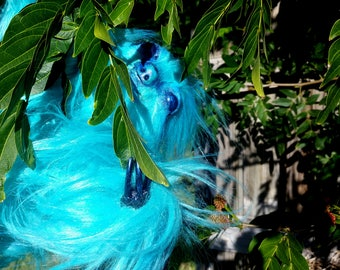 Heseb the teal Sloth OOAK Posable Art Doll