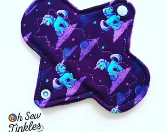 "6"" light CSP Reusable Washable period cloth pad unicorns"