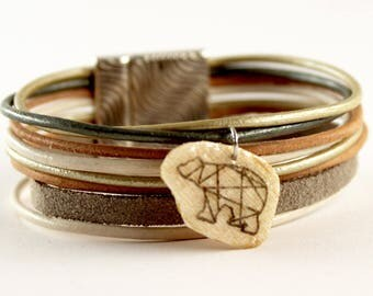 Cuff, bracelet, genuine leather cord white origami bear