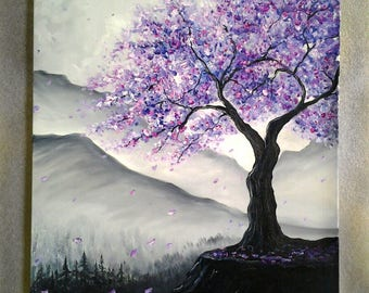 Large,Colourful Art,Silver Landscape,Purple Blossom Tree painting,Abstract Modern,Wall,Office Decor ORIGINAL Oil Painting *Jacaranda Tree*