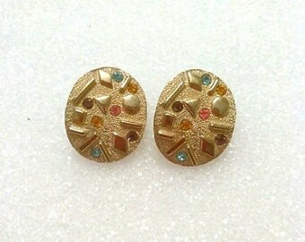 Vintage Gold Rainbow Sarah Coventry Earrings, Designer Signed Jewelry, Accessories, Fashion Jewelry, Boutique