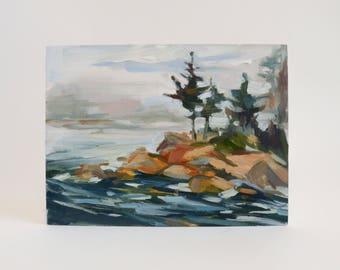 Original Oil Painting, Rocky Coast, Maine, Seascape, Landscape