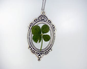 Genuine 4 Leaf Clover Cameo Necklace [LC 025] / Stainless Steel / White Clover Pendant / Triforium Repens Gift / Good Luck Charm