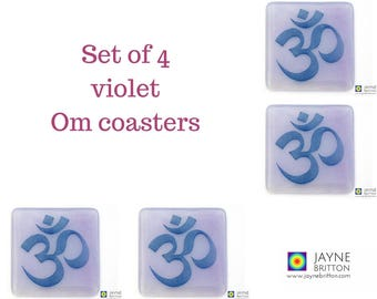Set of 4 Om coasters, blue and purple, handmade fused glass, purple decor, great yoga teacher gift, home gifts, spiritual development