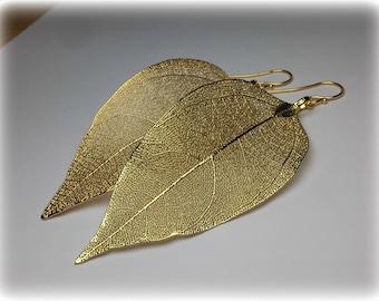 Gold Leaf Earrings Long Dangle Earrings, Real Leaf Earrings  Modern Wedding Earrings Gold Earrings Natural Boho Earrings Bridesmaid Earrings
