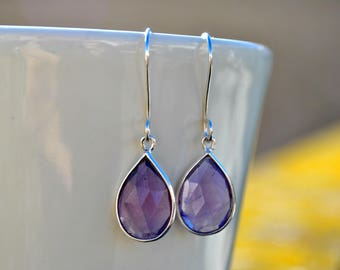 Amethyst Earrings, Teardrop Earrings Wedding Earrings Purple Earrings, Bridesmaid Earrings, Bridal Earrings, Graduation Gift for Daughter