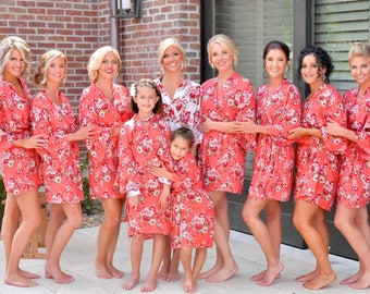 Bridesmaid Robe -Robes for Bridesmaids- Floral Bridesmaids Robes -Cotton Bridesmaids Robes - Kimono Bridesmaids Robes - Bridesmaid Gift