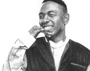 "Kendrick Lamar Charcoal Drawing Print 8""x10"" (Limited Edition)"