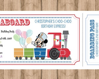 Mickey Train Birthday Invitation