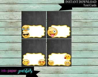Emojis Emoji Birthday Party Food Labels Place Table Tent Cards ~DIY~ Digital File Instant Download