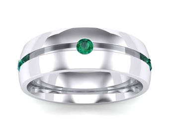 Grooved Five-Stone Emerald Ring, Men Emerald Ring, Emerald Ring, Emerald Wedding Ring, Men Wedding Ring, Men Emerald Wedding Ring, Jewelry