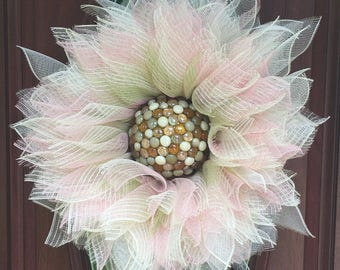 Flower door decor, deco mesh flower, flower wreath, deco mesh wreath, summer wreath, spring wreath, outdoor wreath, pink green wreath,