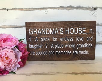 Grandma's House Definition Rustic Sign