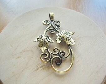 Grape leaf necklace, Bronze grape leaves pendant, Elven jewelry grape vine charm, Grape vine necklace fantasy pendant, Woodland pendant