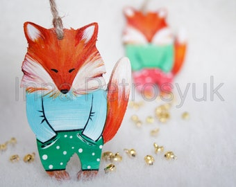 Fox Christmas ornaments handmade. Handmade Fox in pajama . Christmas ornaments. Handmade Christmas tree ornaments. Xmas decor. Fox ornament