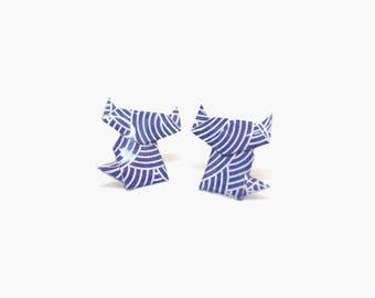 Stud earrings, cat stud earrings, cat earrings, origami earrings, paper earrings, origami jewelry, blue earrings, jewelry