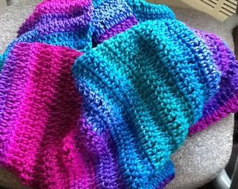 Handmade Crochet Infinity Scarf -Polo Stripe
