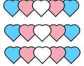 "Trans Hearts (set of 5 stickers) 2""x2"""