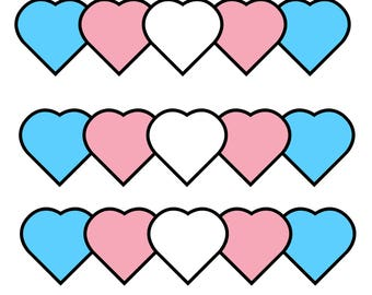 """Trans Hearts (set of 5 stickers) 2""""x2"""""""
