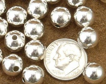 PKG. of Ten 9mm Sterling Silver Seamless Beads - Silver Beads -Jewelry Supplies