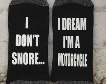 Motorcycle socks Harley Davidson lover gift I Don't Snore I dream I'm a Motorcycle socks Suzuki rider gift