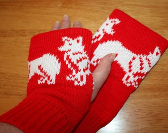 Red Knitted Fingerless Mitts with White Corgi dogs