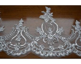 Beige Trim Lace,Sequins Lace Trim for Bridal Veil, Wedding Lace Trim, 12.20 Inches Wide 1 Yard/ Craft Supplies, WL1717