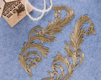 1 Pair Gold Embroidery Leaf Lace Applique DIY Trim Appliques Patch Clothing   Accessories, WL1591