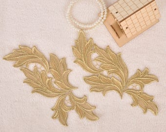 1 Pair Gold Embroidery Leaf Lace Applique DIY Trim Appliques Patch Clothing Accessories, WL1566