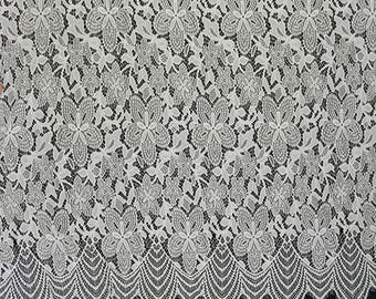 White Flower Eyelash Lace Fabric Lace Trim 59.05 Inches Wide 3.28 Yards/ Craft Supplies, WL1455