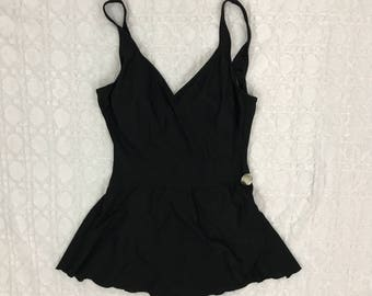 Vintage One Piece Black Bathing Suit Swim Suit with Skirt Swimming Swimsuit Black Retro // Size S / M