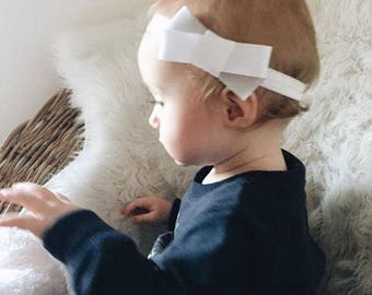 White and grey ribbon baby headbands