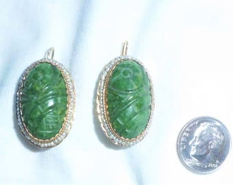 "Estate 14k HEAVY Yellow Gold Vintage Pierced Earrings Genuine Carved Jade Lattice Flower 1-1/4"" long 10g Embossed Marked 14 k kt Antique"