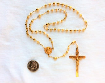 """Estate 10K HEAVY Yellow Gold Link Chain Rosary 16"""" long +5"""" ext. Cross Jesus Crucifix 10.2g Marked 10 k kt Solid 10kt Round Beads Stations"""