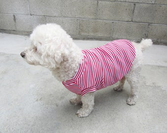 Red Striped Sleeveless Cotton 1x1 Rib Fabric Dog Clothing Dog Apparel Made in USA for Small Dogs Only