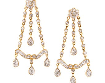 14k yellow and white gold vintage style chandelier earrings