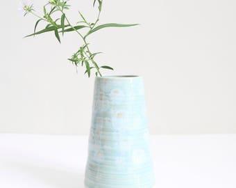 celadon blue vase, medium, pot, textured, handmade, wheel thrown, ceramic, pottery, glazed