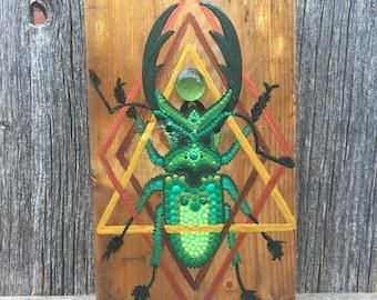 Cosmic Stag Beetle Handpainted Wall Art