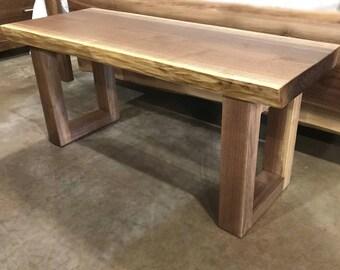 Live Edge Modern Walnut Bench | Thick Walnut Dining Bench | Modern Entryway Bench  | Thick Walnut Bench | Hallway Bench