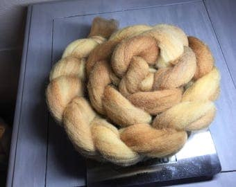 Oak - Hand dyed Domestic wool - Great for felting and carding