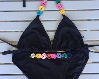 beach bikini with crochet details hippie style gipsy style