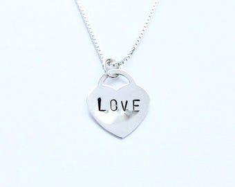 Sterling silver LOVE heart lock charm necklace