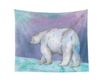 North Pole, Polar Bear Wall Tapestry, Polar Bear Wall Hanging, Polar Bear Wall Art, Arctic Animals, Bear Illustration, Whimsical Animals